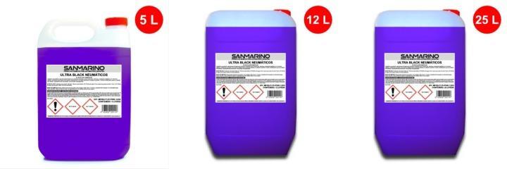 Envase de Ultra Black abrillantador neumáticos y plásticos alto brillo 5, 12 y 25 litros