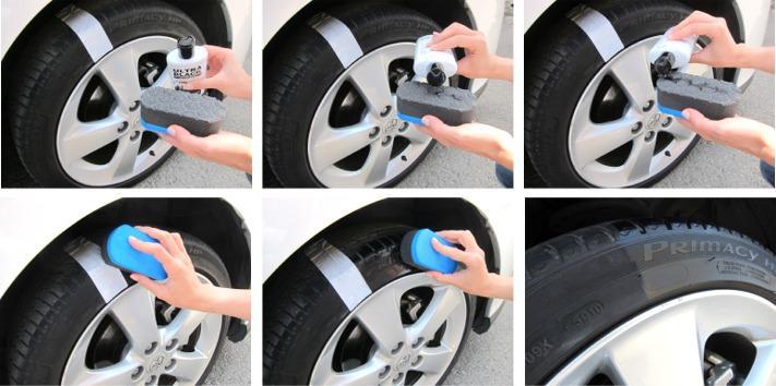 Como abrillantar neumáticos de coche con Ultra Black Sanmarino